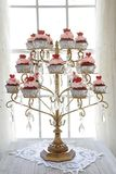 Red velvet cupcakes display Stock Image
