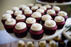 Red velvet cupcakes. At a party or wedding reception Stock Photo