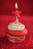 Red velvet cupcake birthday Royalty Free Stock Images