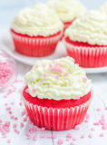 Red velvet cupcakes with ricotta cheese frosting. Closeup Royalty Free Stock Photos