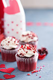Red velvet cupcakes for Valentines Day Royalty Free Stock Image