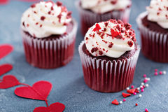 Red velvet cupcakes for Valentines day Royalty Free Stock Photography