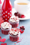 Red velvet cupcakes for Valentines day Stock Photo