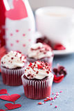 Red velvet cupcakes for Valentines day Stock Photos
