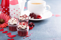 Red velvet cupcakes for Valentines day Royalty Free Stock Photo
