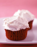 Red velvet cupcakes with vanilla frosting. Two red velvet cupcakes with vanilla frosting Royalty Free Stock Photography