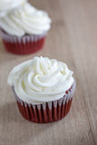 Red Velvet Cupcakes. With a white cream cheese icing Stock Photography