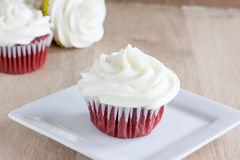 Red Velvet Cupcakes. With a white cream cheese icing Royalty Free Stock Photography