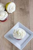Red Velvet Cupcakes. With a white cream cheese icing Stock Photo