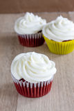Red Velvet Cupcakes. With a white cream cheese icing Stock Images