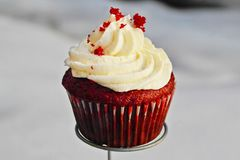 The Red Velvet cupecake royalty free stock photos