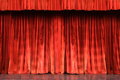 Red velvet curtain. A Red velvet theatre curtain Royalty Free Stock Image