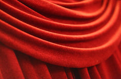 Red velvet curtain Stock Photo