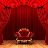 Red velvet curtain and chair Stock Image