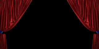 Red velvet curtain open to the sides, on a black background. 3D illustration stock photography