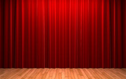 Red velvet curtain opening scene Royalty Free Stock Photo