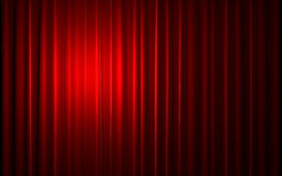 Red velvet curtain opening scene Royalty Free Stock Photos