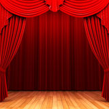 Red velvet curtain opening scene Royalty Free Stock Image