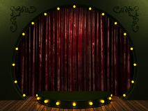 Red velvet curtain stage with lights Royalty Free Stock Photos