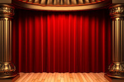 Red velvet curtains behind the gold columns Royalty Free Stock Image