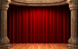 Red velvet curtains behind the old wood columns Stock Images