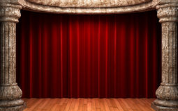 Red velvet curtains behind the stone Royalty Free Stock Photo