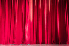 Red velvet curtains. Stock Photo