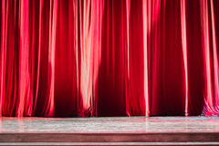 Red velvet curtains. Royalty Free Stock Photo