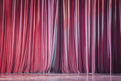 Red velvet curtains. Royalty Free Stock Image
