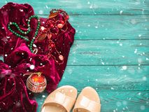 Red velvet dress for Christmas new year party royalty free stock photography