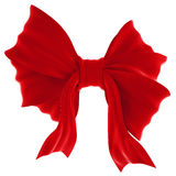 Red velvet gift bow. Ribbon. Isolated on white Stock Image