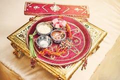 Prayer items for thread ceremony puja, pooja of Indian wedding stock photo