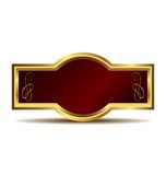 Red velvet in a gold frame label Royalty Free Stock Image