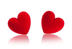 Red velvet heart box. Isolated on white Royalty Free Stock Image