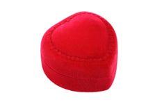 Red velvet heart-shaped box Stock Photos