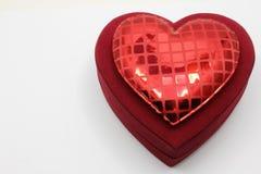 Red velvet heart shaped box Royalty Free Stock Image