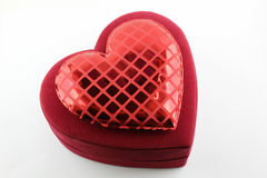 Red velvet heart shaped box Royalty Free Stock Photo