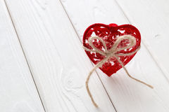 Red velvet heart vertically Royalty Free Stock Photos