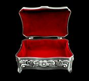 Red velvet inner side of jewelry box Royalty Free Stock Photo