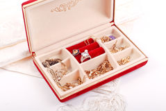 Red Velvet Jewelry Box. With Mixed Jewelry Royalty Free Stock Photography