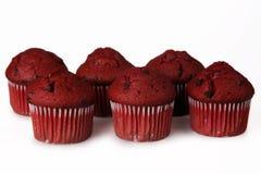 Red Velvet Muffins. Shot of several red velvet muffins over white Stock Photo