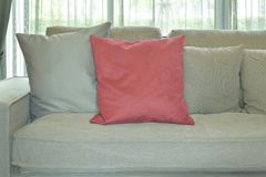 Red velvet pillow with gray color couch and pillows in living room Stock Image