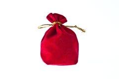 Red velvet pouch Stock Photos