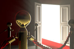 Red velvet rope barrier close-up. An exclusive rope barrier with a white opened door on background. The path leads you to an open door. The door means Stock Images