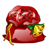 Red velvet sack tied with a rope with golden Christmas bells filled with precious stones rubies isolated on white. Background. Vector cartoon close-up vector illustration
