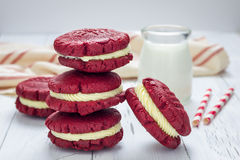 Red velvet sandwich cookies Stock Photo
