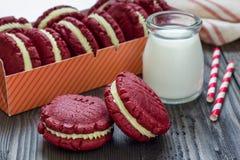 Red velvet sandwich cookies Stock Images