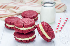 Red velvet sandwich cookies Royalty Free Stock Photo