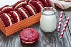 Red velvet sandwich cookies Royalty Free Stock Image