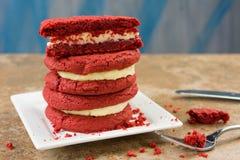 Red Velvet Sandwiches Stock Photos